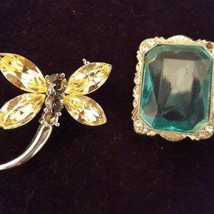 "Swarovski Crystal Butterfly & ""1928"" Auqa Brooches"